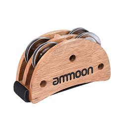ammoon Elliptical Cajon Box Drum Companion Accessory Foot Jingle Tambourine for Hand Percussion  ...