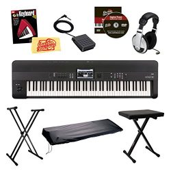 Korg KROME88 Music Workstation Keyboard/Synthesizer 88-Key Bundle with Bench, Keyboard Stand, Du ...