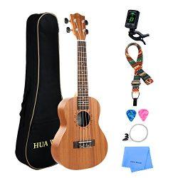 Professional Concert Ukulele Kit Mahogany HUAWIND Uke Starter Kit Hawaiian Ukulele Beginner Kit  ...