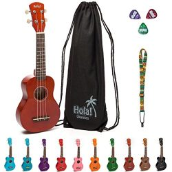 Hola! Music HM-21MG Soprano Ukulele Bundle with Canvas Tote Bag, Strap and Picks, Color Series & ...
