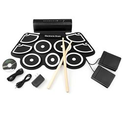 Best Choice Products Roll-Up Foldable Electronic Drum Set w/ USB MIDI, Speakers, Foot Pedals, Dr ...