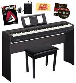 Yamaha P-45 Digital Piano – Black Bundle with Yamaha L-85 Stand, Furniture Bench, Instruct ...