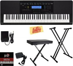 Casio WK-245 Workstation Keyboard Bundle with Adjustable Stand, Bench, Sustain Pedal, Power Supp ...
