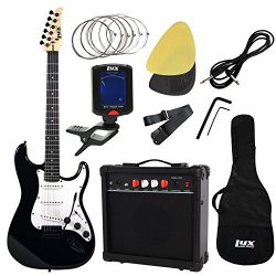 LyxPro Complete Beginner Starter kit Pack Full Size Electric Guitar with 20w Amp, Package Includ ...