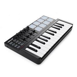 Vangoa Worlde Portable 25 Keys USB Keyboard MIDI Controller with Drum Pad
