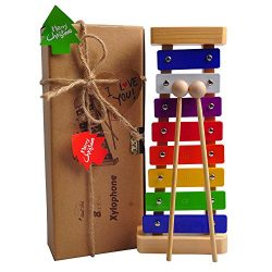 HappyFishes Xylophone with Bright Multi-Colored Keys, Child-Safe Wooden Mallets and Music Cards  ...