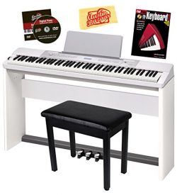 Casio Privia PX-350 Digital Piano – White Bundle with Adjustable Stand, Bench, Dust Cover, ...