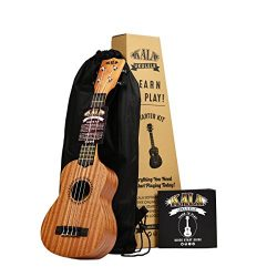 Official Kala Learn to Play Ukulele Starter Kit, Light Mahogany – Includes online lessons, tuner ...
