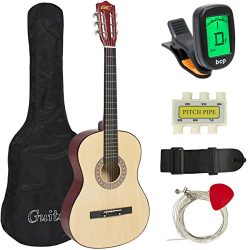 "Best Choice Products Beginners 38"" Acoustic Guitar with Case, Strap, Digital E-Tuner, and  ..."