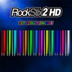 Pair Of ROCKSTIX 2 HD COLOR CHANGE, BRIGHT LED LIGHT UP DRUMSTICKS, 13 Amazing Color FX, with fa ...