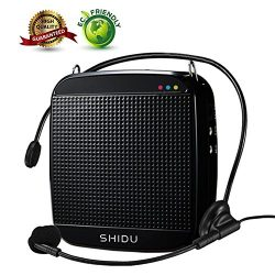 Voice Amplifier,SHIDU Mini Voice Amplifier with Wired Microphone Headset 18W Portable Personal S ...