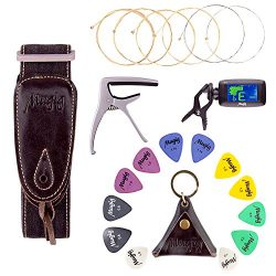 Mugig Guitar Accessories Kit with Tuner, Capo, Acoustic String, Straps and Picks Set with Leathe ...
