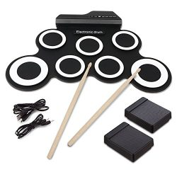 Electronic Roll up Drum,Hizek 7 Pad Portable Electronic Drum Pad kits Foldable Practice Instrume ...
