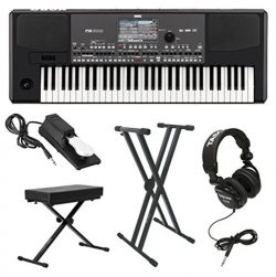 Korg PA600 Professional Arranger Keyboard with Knox Keyboard Bench, Knox Keyboard Stand Full-Siz ...