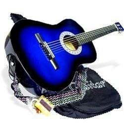 38″ BLUE Acoustic Guitar Starters Beginner Package, Guitars, Gig Bag, Strap, Pitch Pipe Tu ...