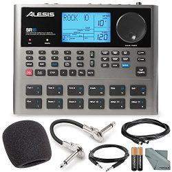 Alesis SR18 18 Bit Portable Drum Machine with Effects and Accessory Bundle w/ Cables + Fibertiqu ...