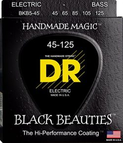DR Strings Bass Strings, Black Beauties BASS Black Coated Nickel Plated Bass Guitar Strings on R ...
