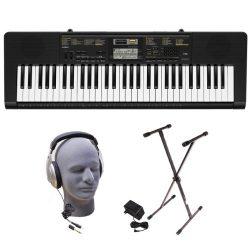 Casio Inc. CTK2400 PPK 61-Key Premium Portable Keyboard Package with Samson HP30 Headphones, Sta ...