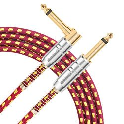 """AIHIKO Guitar Cable 10ft 1/4"""" 6.35mm Bass Amp Cord Straight to Right Angle Jack for Instrument/K ..."""