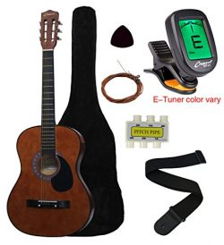 Crescent MG38-CF 38″ Acoustic Guitar Starter Package, COFFEE (Includes CrescentTM Digital  ...
