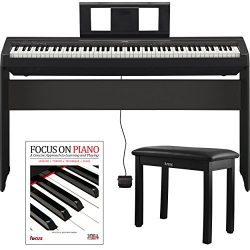 Yamaha P45 88 Weighted Keys Digital Piano with Yamaha L85 Furniture Stand ,Knox Bench and Focus  ...