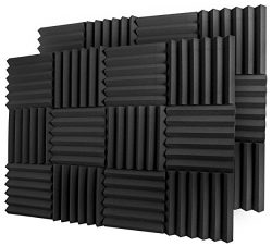 A2S Protection 24 Pack Acoustic Foam Panels 2″ X 12″ X 12″ Soundproofing Studi ...