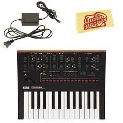 Korg Monologue Monophonic Analog Synthesizer – Black Bundle with Power Supply and Austin B ...