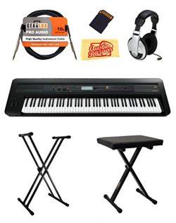 Korg KROSS 88 Music Workstation Keyboard/Synthesizer Bundle with Bench, Stand, Headphones, Batte ...