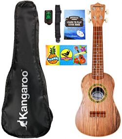 22.5″ Ukulele with Electronic Tuner, Strap, Picks, Carrying Case & Songbook