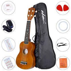 ADM Ukulele 21 Inch Soprano Wood Beginner Kit with Teaching CD Gig bag Tuner Fingerboard Sticker ...