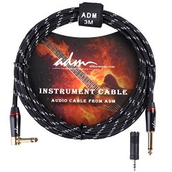 ADM 10FT 3M Straight to Right Angle Noiseless Musical Instruments Electric Guitar & Bass Cab ...