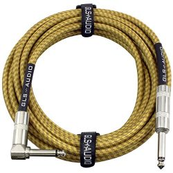 GLS Audio 20 Foot Guitar Instrument Cable – Right Angle 1/4 Inch TS to Straight 1/4 Inch T ...