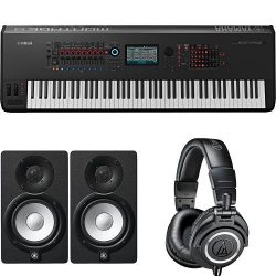 Yamaha Montage8 Synthesizer Workstation with HS5 Powered Studio Monitor, Pair and M50x Professio ...