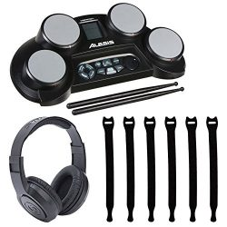 Alesis CompactKit 4 4-Pad Portable Tabletop Electronic Drum Kit with Drumsticks & Built-In L ...