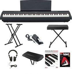 Yamaha P-115B 88-Key Graded Hammer Standard (GHS) Digital Piano (Black) Bundle with Knox Double  ...