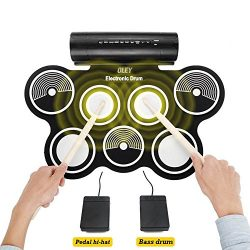 Portable Electronic Drum Kit, OLEY Digital Foldable Roll-Up Drum Pad Set Instruments Built in Sp ...