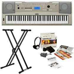 Yamaha YPG-235 76-Key Portable Grand Piano Keyboard Bundle with Knox Double X Stand and Yamaha S ...