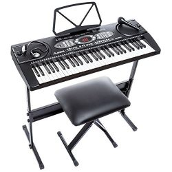 Alesis Melody 61 Beginner Bundle   61-Key Portable Keyboard with Stand, Bench, Headphones, and M ...