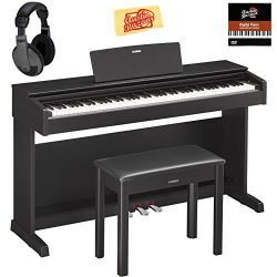 Yamaha YDP-143B Arius Console Digital Piano – Black Bundle with Furniture Bench, Headphone ...