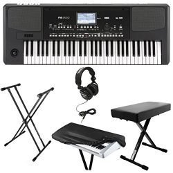 Korg PA300 61-key Arranger Workstation Keyboard Bundle with Knox Double X Stand ,Bench ,Headphon ...