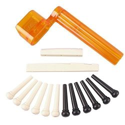 YMC Tint Bridge Pin+String Winder Plus Nut Saddle Set for Acoustic Guitar, Black & Ivory, 6  ...