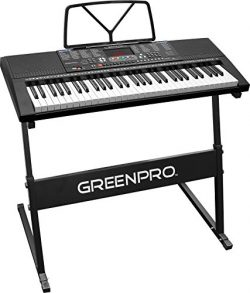 GreenPro 61 Key Portable Electronic Piano Keyboard LED Display with Adjustable Stand and Music N ...
