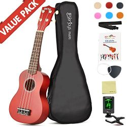 Soprano Ukulele Beginner Pack-21 Inch w/ Gig Bag Fast Learn Songbook Digital Tuner All in One Kit