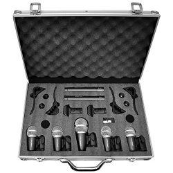 Pyle Pro 7-Piece Wired Dynamic Drum Mic Kit – Kick Bass, Tom / Snare & Cymbals Microph ...