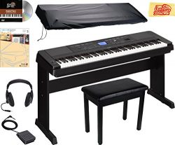 Yamaha DGX-660 Digital Piano – Black Bundle with Furniture Bench, Dust Cover, Headphones,  ...