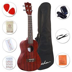 ADM 23″ Deluxe Mahogany Concert Ukulele Kit with Bag, Strap, Tuner and Picks