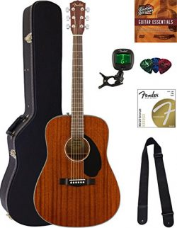 Fender CD-60S Dreadnought Acoustic Guitar – All Mahogany Bundle with Hard Case, Tuner, Str ...