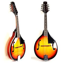 Hola! Music A Style Mandolin Instrument with Adjustable Truss-Rod Model HM-3TS, Glossy Sunburst  ...