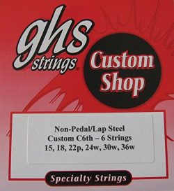 "Lap Steel Guitar Strings ""GHS Custom C6th- 6 "" Gauges 15 – 36W – 2 Sets"