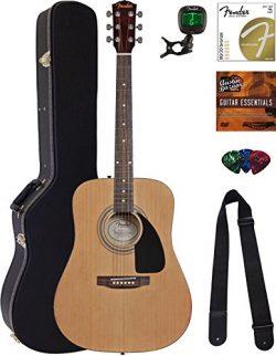 Fender Acoustic Guitar Bundle with Hard Case, Stand, Tuner, Strings, Strap, Picks, Austin Bazaar ...